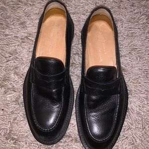 Grained Italian Leather Black Loafers